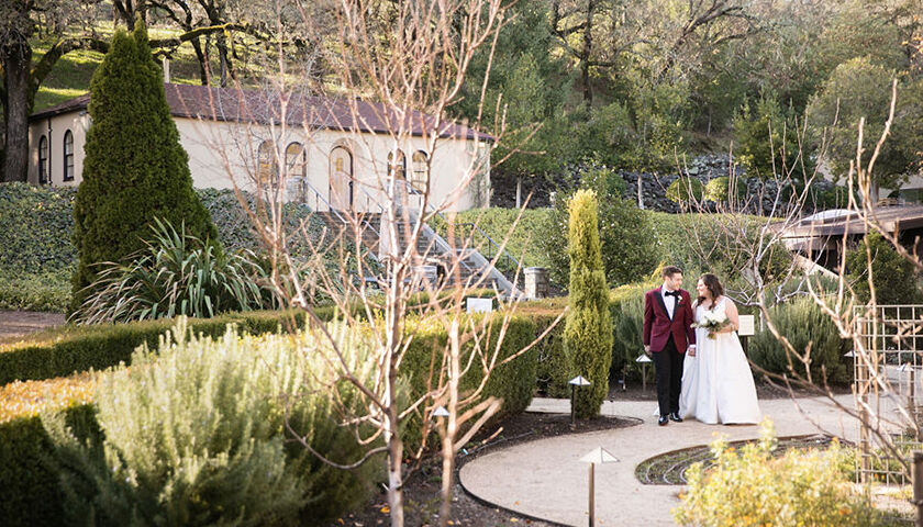 Bride and groom in the winery sensory garden