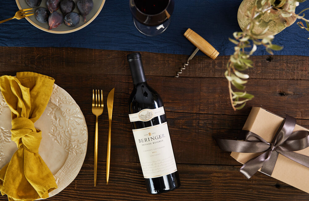 Beringer Private Reserve Cabernet Laying on Table