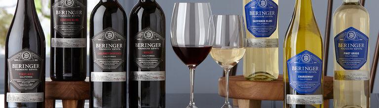 Beringer Founders' Estate Wines: Pinot Noir, Dark Red Blend, Cabernet Sauvignon, Merlot, Sauvignon Blanc, & Chardonnay