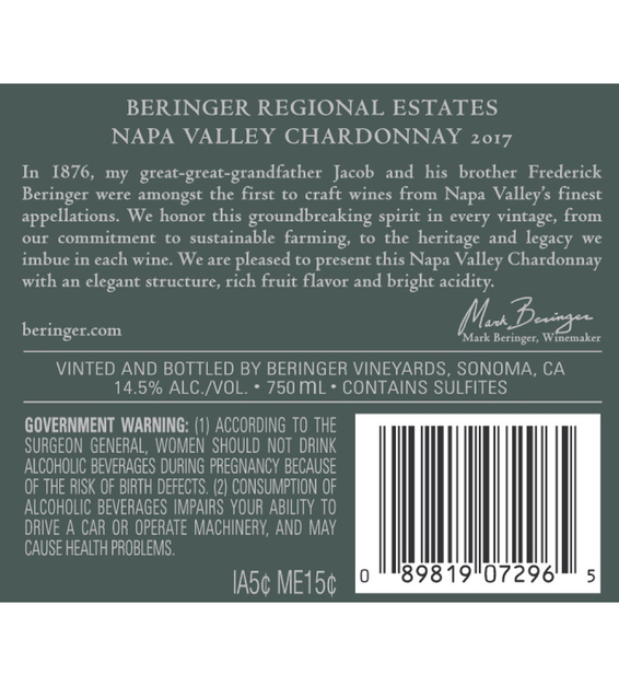 2017 Beringer Napa Valley Chardonnay Back Label