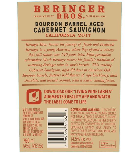 2017 Beringer Brothers Bourbon Barrel Aged Cabernet Sauvignon Back Label