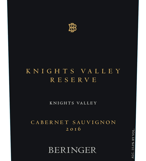 2016 Beringer Knights Valley Reserve Cabernet Sauvignon Front Label