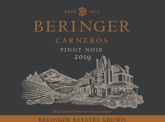 2019 Beringer Winery Exclusive Carneros Pinot Noir Front Label