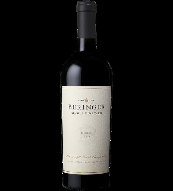 2017 Beringer Bancroft Ranch Vineyard Howell Mountain Napa Valley Merlot Bottle Shot