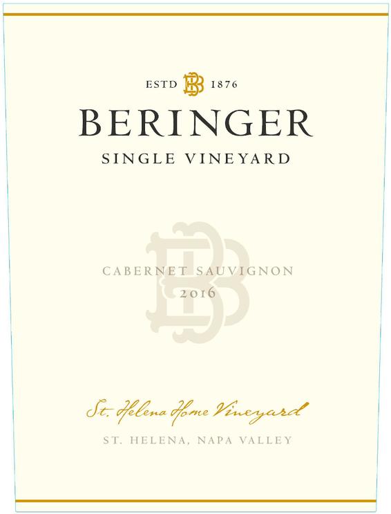 2016 Beringer St Helena Home Vineyard Cabernet Sauvignon Front Label