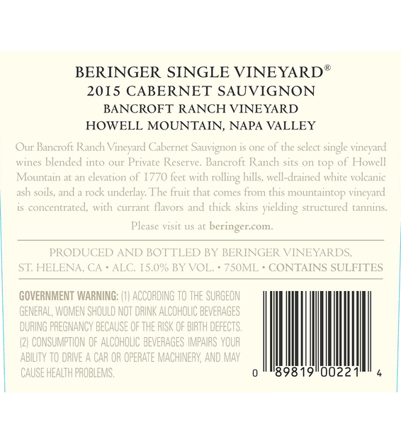 2015 Beringer Bancroft Ranch Howell Mountain Cabernet Sauvignon Back Label