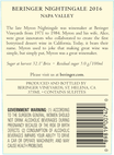 2016 Beringer Nightingale Napa Valley Semillon Sauvignon Blanc Back Label, image 3