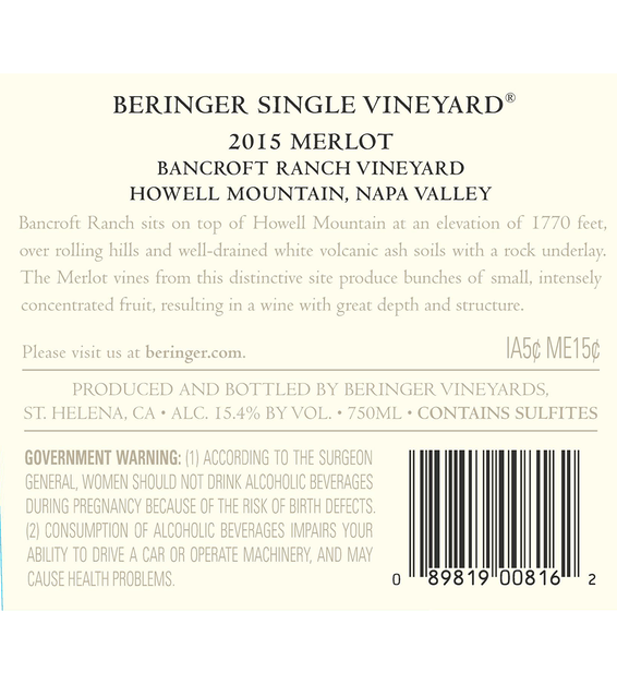 2015 Beringer Bancroft Ranch Howell Mountain Merlot Back Label