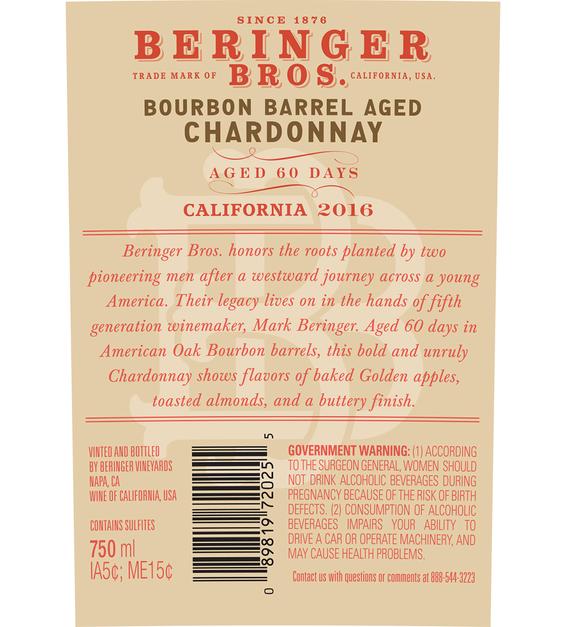 2016 Beringer Brothers Bourbon Barrel Aged Chardonnay Back Label