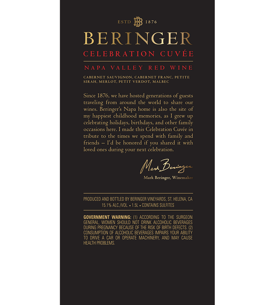 2016 Beringer Celebration Cuvee Red Blend Napa Valley Magnum Back Label