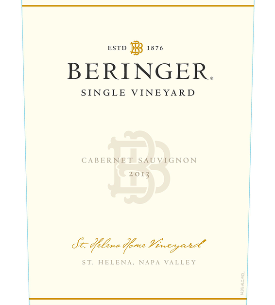 2013 Beringer Saint Helena Home Vineyard Saint Helena Cabernet Sauvignon Front Label
