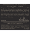 2017 Beringer Winery Exclusive Riesling Napa Valley Back Label, image 3