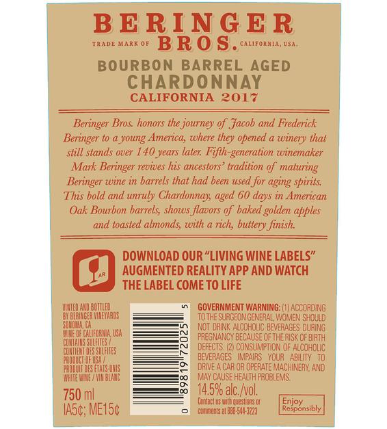2017 Beringer Brothers Bourbon Barrel Aged Chardonnay Front Label